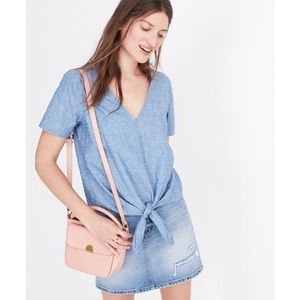 NWT Madewell Tie Front Chambray Top